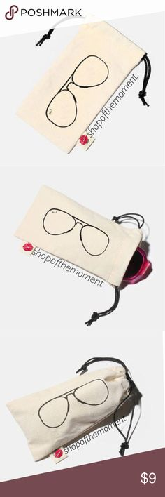 """😎🆕 Sunglass Pouch Put your 🕶 in here! $9 2/$16 Sunglasses Pouch in Canvas Bag  😎😎😎😎😎😎😎😎😎😎😎😎  Amazingly soft canvas pouch in cute aviators design to hold and protect your sunglasses and eyeglasses from scratches. Features drawstring closure. Fits perfectly in your purse, beach bag or gym bag. Machine Washable.   Approximate Measurements: 6.75"""" x 3.5""""  😎😎😎😎😎😎😎😎😎😎😎😎  ✗ Drama ✗ Trades ⚡️Fast Shipper ☆☆☆☆☆ 5 star seller  💋 Smooches, D Boutique Accessories Sunglasses"""
