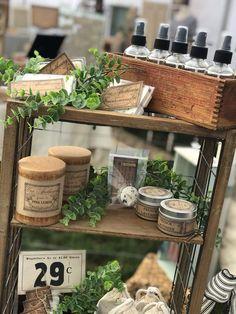 Vintage market display, shop display, farmhouse style, candles, antiques, lavender sash, lavender spray....too cute vintage chic pop up boutique