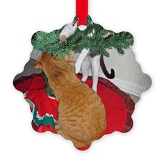 2 Cats a Climbing Ornament on CafePress.com