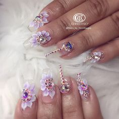 Flower Nail Designs With Rhinestones Weave - clear, flowers, swarovski stones nail art Clear Acrylic Nails, Clear Nails, Crystal Nails, Gel Nails, Polish Nails, Stiletto Nails, Swarovski Nails, Rhinestone Nails, Bling Nails