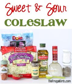 Sweet and Sour Coleslaw Recipe at TheFrugalGirls.com. What You'll Need:   16 oz. Package of Coleslaw Mix 1 cup shredded Purple Cabbage (for texture & color) 1/2 cup White Wine Vinegar 1 tbsp Olive Oil 1/3 cup White Sugar 1/4 cup Brown Sugar 1 tsp Salt 1 tsp Celery Seed 1/2 tsp Black Pepper 1/8 tsp Cayenne Pepper Sweet and Sour Coleslaw Recipe at TheFrugalGirls.comPin It Buttons  What You'll Do:  Mix dry ingredients together in large bowl. Add in wet ingredients, and mix together. Add in 1/2 ...
