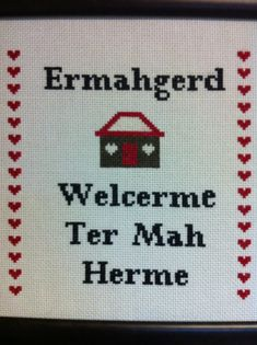 I want to cross stitch now! Ermahgerd Crossstitch Pattern by CraftComplex on Etsy Cross Stitching, Cross Stitch Embroidery, Cross Stitch Patterns, Funny Embroidery, Embroidery Ideas, Lol, Do It Yourself Home, So Little Time, Nerdy