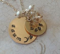 Gold Filled Hand Stamped Mommy, Grandmother, Nana Necklace - Personalized Custom Jewelry - Stacked Discs Swarovski Charms Pearls Kids Names by glitterazzijewels. Explore more products on http://glitterazzijewels.etsy.com