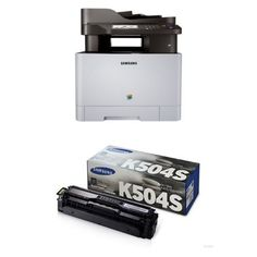 Samsung SL-C1860FW Wireless Color Printer with Scanner/Copier/Fax and CLT-K504S Toner (Black). Contents: Samsung SL-C1860FW Wireless Color Printer with Scanner/Copier/Fax and CLT-K504S Toner (Black). All-in-one machine prints, copies, scans, and faxes. Dual-core processor handles multiple jobs at up to 19 pages per minute. ReCP technology and polymerized toner for clarity and vibrancy. Black 2.5K yield toner.
