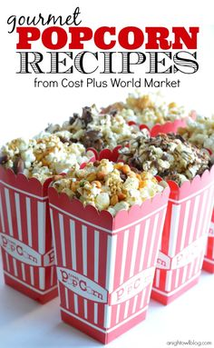 Churro Gourmet Popcorn and Chocolate Toffee Gourmet Popcorn. Gourmet Popcorn Recipes are the perfect addition to movie night! Pick up all the supplies you need at World Market! Popcorn Snacks, Flavored Popcorn, Gourmet Popcorn, Popcorn Recipes, Candy Popcorn, Popcorn Balls, Yummy Snacks, Delicious Desserts, Yummy Food