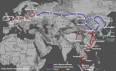 Map of trans Siberian & Mongolian railway from St. Petersburg - Beijing