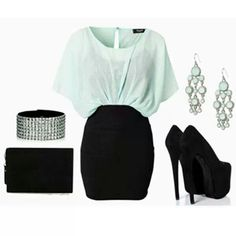 Black Mini Skirt, Mint Blouse, Black Pumps, Black Clutch and Silver Earrings and Bracelet.
