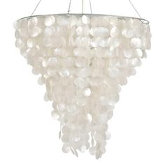 "Large round capiz shell chandelier with interior double nickel plated socket for 40w bulbs. Fixture is 48""h from top of frame to bottom shells. Comes with extra 3' chrome chain and canopy."