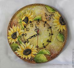 - Best ideas for decoration and makeup - Lotus Painting, Clock Painting, Diy Clock, Clock Decor, Clay Wall Art, Canvas Wall Art, Clocks Inspiration, Handmade Clocks, Clock For Kids