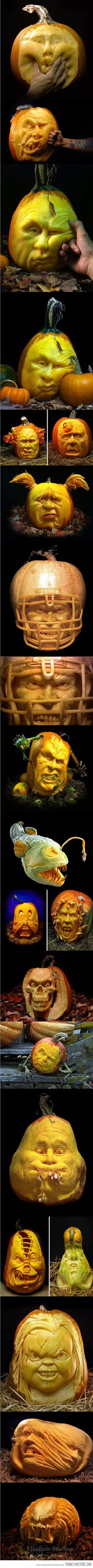 Amazing creative Pumpkin carvings! @Amy Magness ............ Something for all, eheheheh