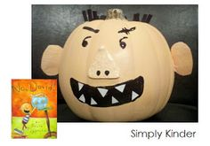 """David pumpkin by Simply Kinder (see their Pumpkin Book Report project freebie, too).  Book: """"No, David!"""" by David Shannon - http://encore.oaklandlibrary.org/iii/encore/record/C__Rb1506675"""