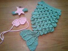 Baby Mermaid Set Starfish Headband Shells Tail Cape Honeydew Baby Pink - Hat Crochet Outfit Newborn Girl Halloween Photo Prop.