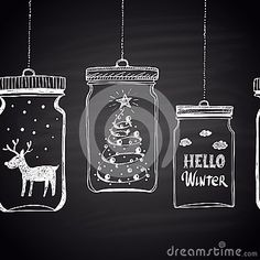 Chalk drawn white horizontal border with Christmas tree, clouds, text, snow and deer in a jar. Happy New Year Theme.