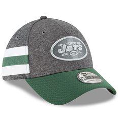 Men s New York Jets New Era Heather Gray Green 2018 NFL Sideline Home  Graphite 39THIRTY Flex Hat c8ce7f55c