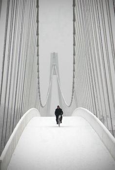 Snowbiker. Pedestrian bridge in Osijek, Croatia