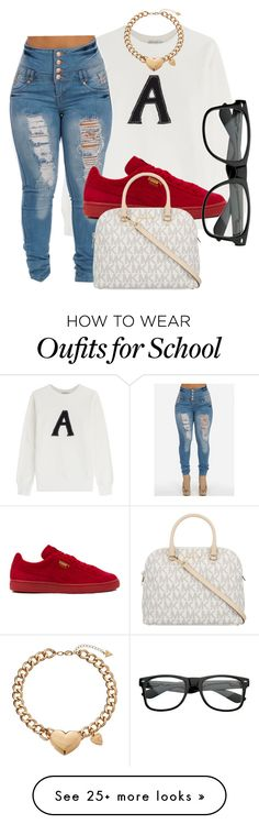 """""""school fit #16"""" by missejaay on Polyvore featuring moda, AG Adriano Goldschmied, Puma, GUESS y MICHAEL Michael Kors"""