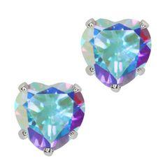 Amazon.com: 2.14 Ct Heart Mercury Mist Mystic Topaz 10K White Gold Stud Earrings: Jewelry