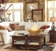 Very Warm Inviting Space. Not sure I'd ever get a white couch though.