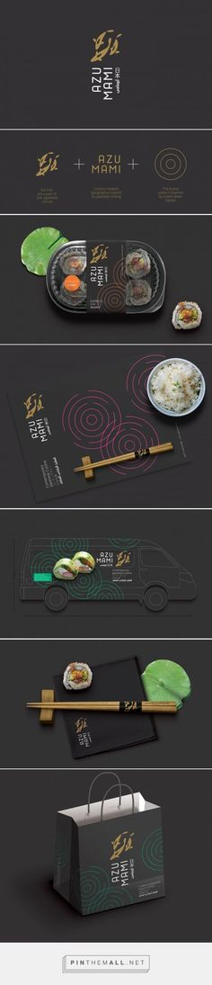 Branding, graphic design and packaging for Azumami on Behance by Studio AIO Shuwaikh, Kuwait curated by Packaging Diva PD. Who's ready for some sushi?: (Need To Try Design Studios) Branding And Packaging, Food Branding, Packaging Design, Brand Identity Design, Graphic Design Branding, Corporate Design, Corporate Identity, Web Design, Layout Design