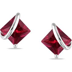 M by Miadora Sterling Silver Created Ruby Stud Earrings (3715 RSD) ❤ liked on Polyvore featuring jewelry, earrings, red, sterling silver stud earrings, butterfly stud earrings, sterling silver earrings, square stud earrings and stud earrings