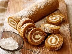 Pumpkin Roll : Trisha's sweet pumpkin roll is loaded with autumnal flavors and spices, but easy and convenient canned pumpkin makes it an anytime-of-the-year treat.