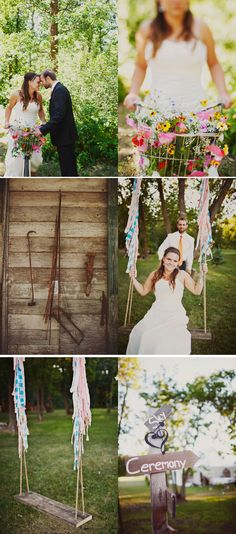 Love the wedding sign and the swing