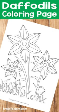 Lovely Daffodils Coloring Page for Kids (children garden free printable) Garden Coloring Pages, Spring Coloring Pages, Flower Coloring Pages, Animal Coloring Pages, Coloring For Kids, Coloring Pages For Kids, Daffodil Craft, Daffodil Color, Craft Activities For Kids