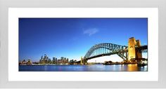 Sydney Harbour Bridge Framed Print, White, Contemporary, Black, White, Single piece, 10 x 24 inches