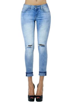 Womens Light Wash Distressed Cuff Bottom Skinny Jeans with Pockets (SIZE : 5, DENIM-A0661515)