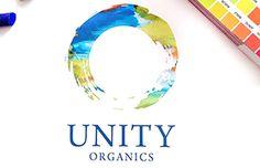 Logo design for Unity Organics, featuring vivid tones and watercolor texture