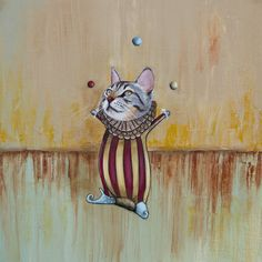 """Circus Cat"" Acrylic on canvas SOLD"