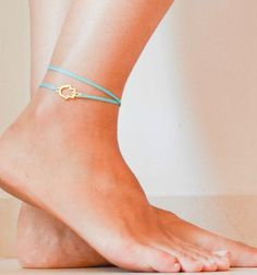 Turquoise Hamsa anklet, dainty wrap cord anklet with a gold plated Hamsa charm, turquoise ankle bracelet, gift for her, lucky charm, teal via Etsy