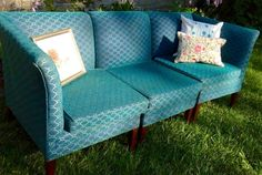 The Blue Monday 1950s Teal Sectional Couch