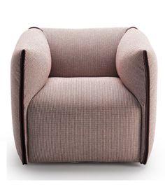 Mia Armchair With Trim in a Contrast Colour MDF Italia.Een compacte en zachte fauteuil met een sterk karakter versterkt door de toon-op-toon of contrasterende trim. Een gemakkelijk verwijderbare afdekking door een elegante ritssluiting die de vorm van de armleuningen. Structuur is gemaakt van massief hout en multiplex met een basis met elastische riemen.