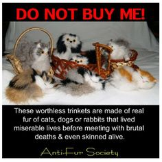 Anti-Fur Society's photo: Do not buy these! They are made from misery and torture. I've seen these at truck stops, and even small versions in the grocery store sold in the pet food aisle.