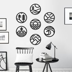 Wall Decor Set, Tree Wall Decor, Bathroom Wall Decor, Metal Wall Decor, Modern Metal Wall Art, Nature Symbols, 3d Cnc, Metal Clock, Wall Art Designs