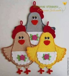 Aplique de Crochê Galinha -  /     Apply Crochet Chicken -