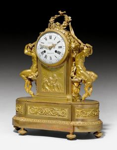 "Description: MANTEL CLOCK ""AUX SATYRES"", late Louis XVI, the dial inscribed LOUIS MONTJOYE, Paris, 19th century."