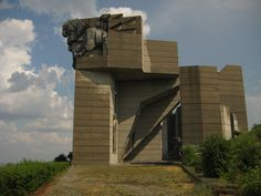 This Soviet-era monument to the history of Bulgaria in Shumen.  There are people in this photo to give it scale.