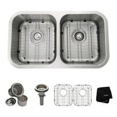 KRAUS All-in-One Undermount Stainless Steel 31 in. Double Bowl Kitchen Sink KBU29 at The Home$239 Depot - Mobile