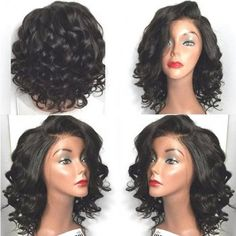 Short Side Parting Wavy High Temperature Fiber Lace Front Wig (BLACK) in Synthetic Wigs | DressLily.com