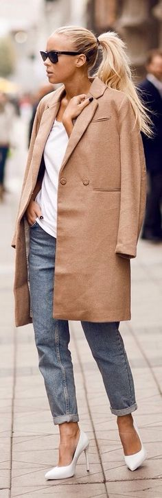 The camel coat - #womenswear #fall #winter #jeans #style #white #shirt