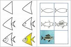 Techniques faciles pour apprendre à dessiner #enfants #poisson