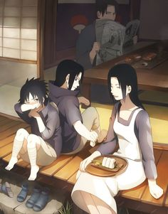 The Uchiha Family.-I know their dad's eyes are suppose to show he is a part of the family but they just seem hilariously creepy to me-awesome art though