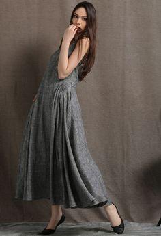 Gris lino vestido Maxi  verano gris sin mangas Marga larga