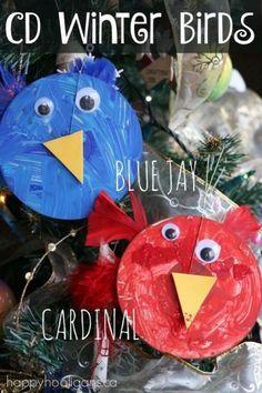 Winter Birds Craft for Preschoolers - CD Blue Jay and Cardinal