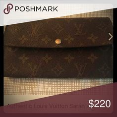 100% Authentic Louis Vuitton Sarah Long Wallet Gently used Authentic Louis Vuitton wallet. Normal wear and tear. Only zipper pull discoloration, otherwise in good shape. Make me an offer. A bit to BIG of a wallet for me. Louis Vuitton Bags Wallets