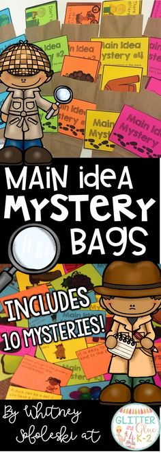 Teach your students about main idea with a main idea mystery! Includes 10 different main idea mysteries. These are differentiated with 5 picture cards and 5 sentence cards! Includes answer keys and recording sheets too. Keywords: main idea, comprehension, literacy centers, special education, intervention, first grade, second grade, main idea mystery bags, teaching main idea, how to teach main idea