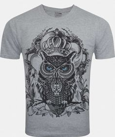 Zovi King Of The Owl Dove Grey Melange Graphic T-shirt - Zovi Mens Tees