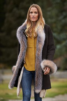 Chantal Reversible Sheepskin Coat with Crystal Fox Fur Trim | Overland
